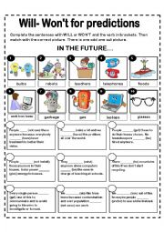 English Worksheet: WILL AND WON�T FOR PREDICTIONS