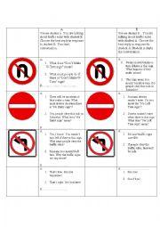 English Worksheet: Traffic rules cue card