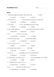 English Worksheet: C2 Vocabulary Test