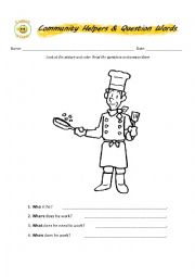 English Worksheet: Community Helpers & Question Words Part 2
