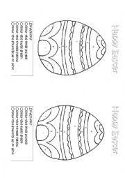 English Worksheet: Easter Egg Colouring