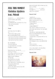 English Worksheet: Feel this Moment by Christina Aguilera feat. Pitbull