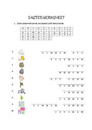 English Worksheet: Easter Worksheet (addition to Easter Memory Game printable)