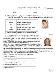 English Worksheet: Diagnostic Test 3rd grade