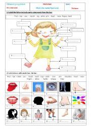English Worksheet: Body parts(p1)
