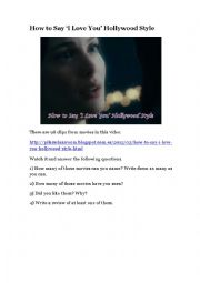 English Worksheet: How to Say �I Love You� Hollywood Style