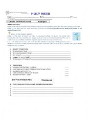 English Worksheet: holy week