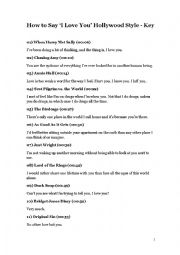 English Worksheet: How to Say �I Love You� Hollywood Style (Key)