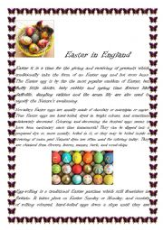 English Worksheet: Easter in England