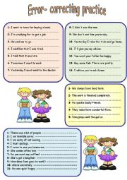 English Worksheet: error correcting practice