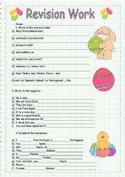 English Worksheet: Revision work for beginners