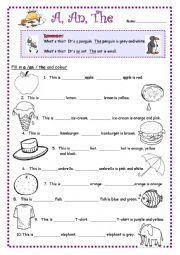 English Worksheet: Articles: A, An, The