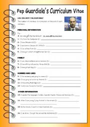 English Worksheet: spot the mistake - Famous football manager  Pep Guardiola�s curriculum vitae