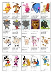 English Worksheet: cartoon cards game