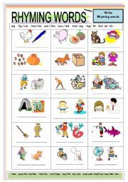 English Worksheet: Rhyming words