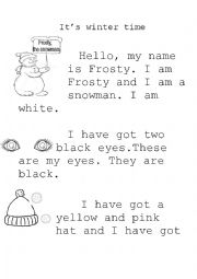 English Worksheet: Frosty, the snowman
