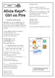English Worksheet: Girl on Fire (Alicia Keys) song activity