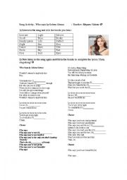English Worksheet: Song Activity - Who says by Selena Gomez