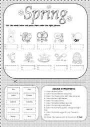 English Worksheet: Cut and paste activity - Spring