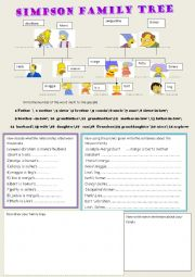English Worksheet: the simpson�s family tree