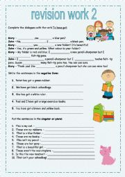 English Worksheet: Revision work for beginners 2