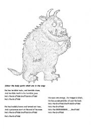English Worksheet: Gruffalo song