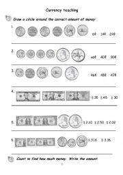 English Worksheet: currency teaching excises