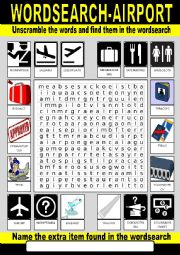 English worksheet: Airport Wordsearch