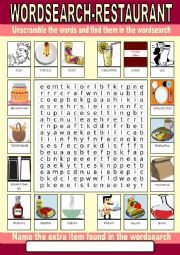English Worksheet: Restaurant Wordsearch