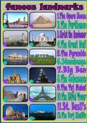 English Worksheet: famous landmarks
