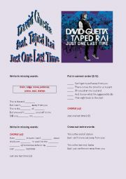 English Worksheet: David Guetta feat. Taped Rai