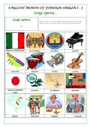 English Worksheet: ENGLISH WORDS OF FOREIGN ORIGIN I - J (ITALIAN, JAPANESE) - a pictionary