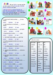 English Worksheet: FOR, SINCE AND AGO