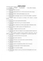 English Worksheet: teacher evaluation