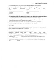 English Worksheet: A world language