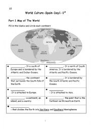 English Worksheet: Map of the World