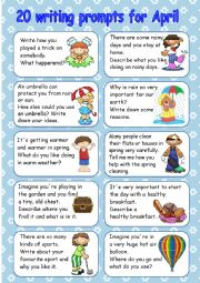 English Worksheet:  20 writing prompts for April