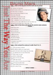 English Worksheet: ...:::SONG WORKSHEET:::... JUST THE WAY YOU ARE - BRUNO MARS