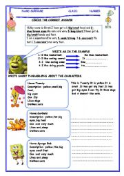 English Worksheet: describing cartoon characters