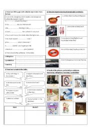 English Worksheet: must / mustn´t / be careful