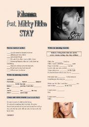 English Worksheet: Rihanna STAY