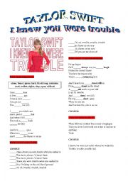 English Worksheet: TAYLOR SWIFT �TROUBLE�