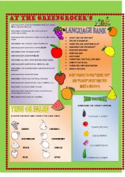 English Worksheet: AT THE GREENGROCER�S + KEY