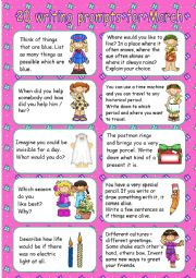 English Worksheet: 20 writing prompts for March