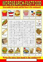 Fast food Wordsearch