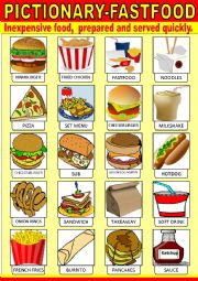 English Worksheet: Fast food Pictionary