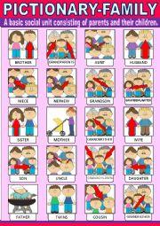 English Worksheet: Family Pictionary