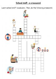 crossword on school staff