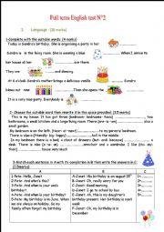 English Worksheet: full term english test 2