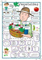 English Worksheet: I love vegetables